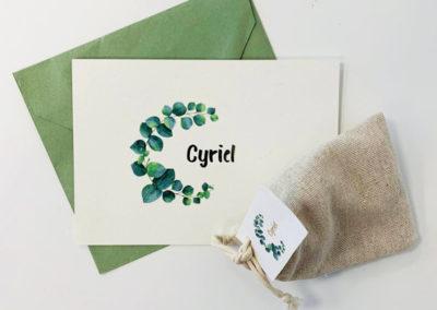 Geboortekaartje met enveloppe en doopsuiker kaartjes